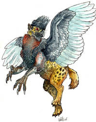 Guineafowl-Hyena Gryphon by caramitten