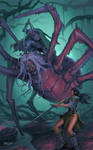 Adventurers fight a Hag Spider by Jumpei