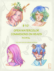 OPEN WATERCOLOR COMMISIONS by velsdy