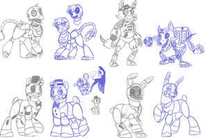 MLP+Fnaf: fnaf 2 animatronics by Crystalchan2D