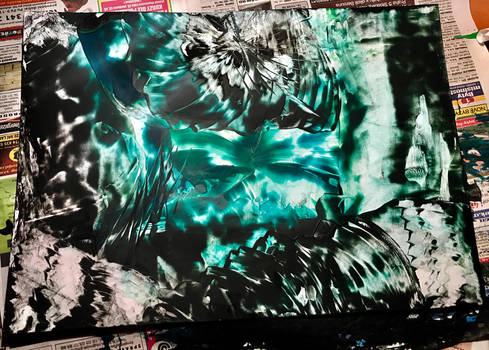 Blue Black Abstract by nlandova228