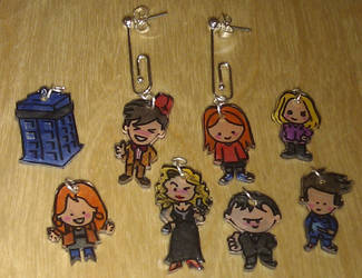 Kawaii Doctor Who interchangeable earring set by Lovelyruthie