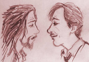 Sirius n Remus at the shack by Lovelyruthie