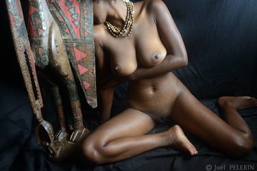 Ebony Queen and Statue of Fertility 1 by charmeurindien