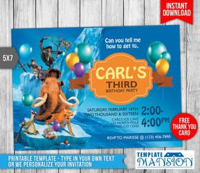 Ice Age Birthday Invitation Printable by templatemansion