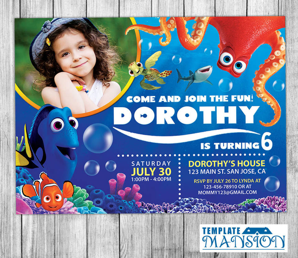 Finding Dory Invitations With Free Thank You Card By Templatemansion