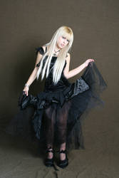 Girl in Gothic Black Dress IX by tanit-isis-stock