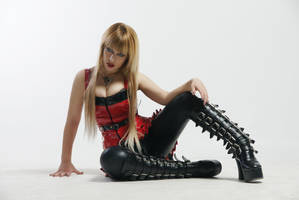 Blonde in Red Latex III by tanit-isis-stock