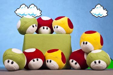 Super Mario Mushroom Plushies by NekoRushi