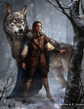 Arya Stark and Nymeria by monsterling