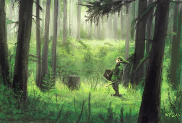 Legend of Zelda - Link in  the forest by Zefy