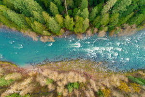 Looking straight down on the river by PNWDronetography