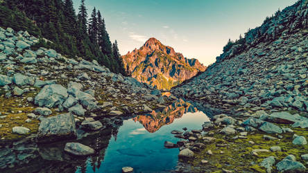 Vesper Creek looking towards Morningstar Peak by PNWDronetography