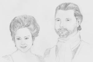 Diana Gabaldon, Ronald Moore, Outlander by melzilla