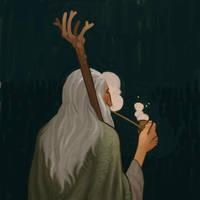 Gandalf smoking by atomicman