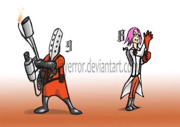 Pyro and Medic Espada by realityerror