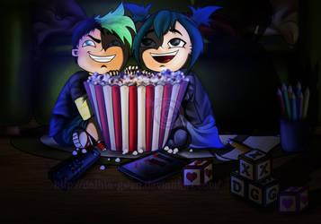DxG: Watching An Horror Movie! by Dalhia-Gwen