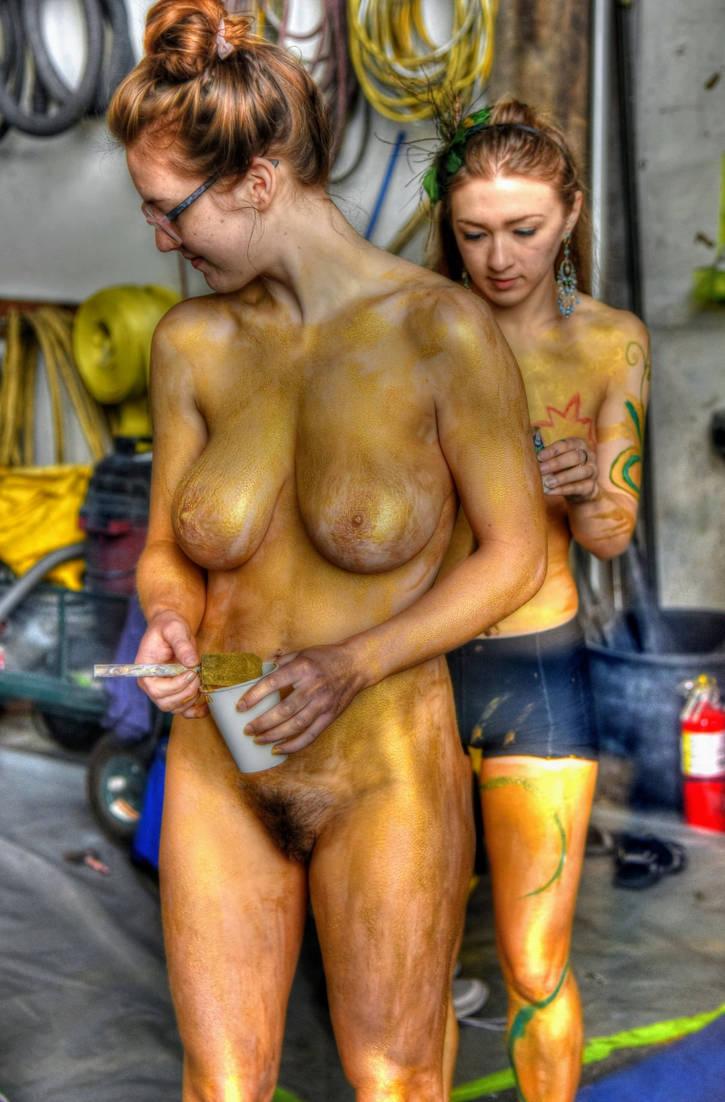 Body Painted Golden Girl by LeJunn