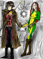 Gambit and Rogue Composition by Darkend-Tigress