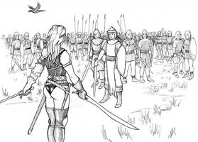Raven Confronts the Conscripts by warriorneedsfood