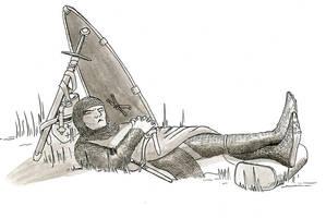Inktober Day 7 - A Soldier at Rest by warriorneedsfood