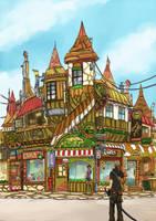 concept art steam town by Kai-E-soh
