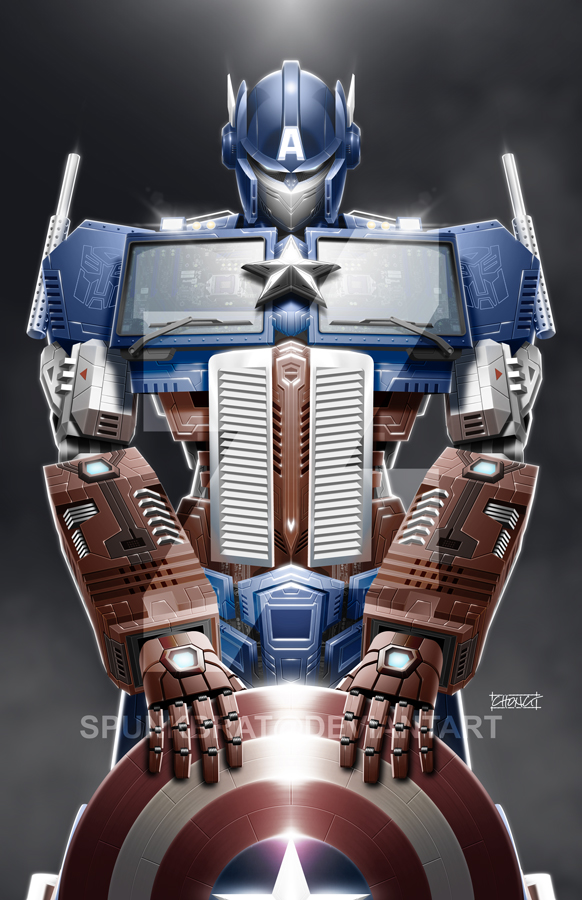 TransAvengers: Optimus Prime|Captain America by spunkbrat