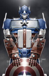 TransAvengers: Optimus Prime|Captain America by spunkbrat
