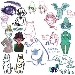 Mostly Moomin sketches by AchyBreakyDitori