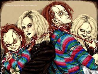 Chucky and Tiffany by HumanPinCushion