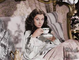 Scarlett drinking tea ~ colored photo by natsafan