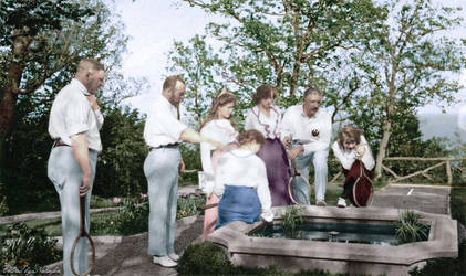 By the fountain ~ colored photo by natsafan