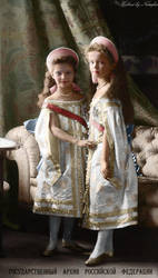 Tatiana and Olga 1904 ~ colored photo by natsafan