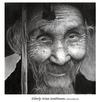 Elderly Asian gentleman by OdinPeterson