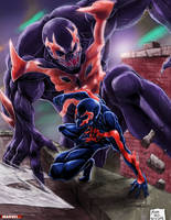 Spiderman and Venom 2099 by TheArtistJ