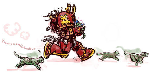 Kharn runs with cats by twopunch