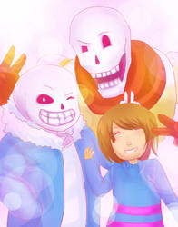 Sans, Papyrus And Frisk by Luminent-Soul