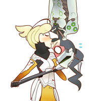 Mercy and Genji Spider Man Kiss by CometCrumbbs