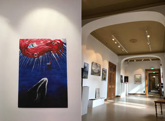 My painting in a gallery by FlamewolfTheWhite