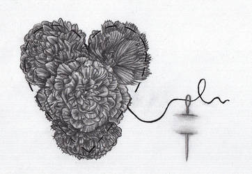 Heart And Carnations Tattoo by FlamewolfTheWhite