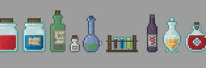 Bottles and Potions by LordVanDemon