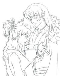 Sesshoumaru X Kagura inked lineart by diamond-hunter