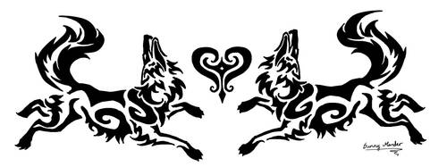 Wolves and heart tribal by Sunima