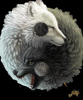 Yin Yang wolves by Sunima
