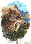 Wolf cub kiss by Sunima