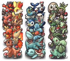 Pokemon starters bookmarks by Sunima