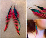 Pink and Teal Feathered Earrings by Destiny-Carter