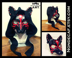 Red Wolf Mask with Black Hood by nondecaf