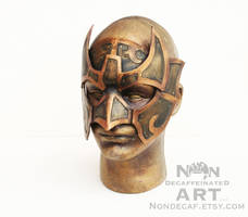 Armored Knight Half Mask in Brown and Gold by nondecaf