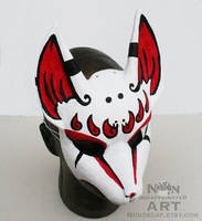 Red white and black kitsune mask by nondecaf